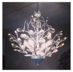 "Glass ""leaf"" beaded chandelier for Elle Aveda Salon & Spa"