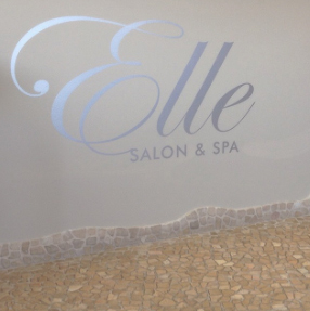 Metallic wall vinyl for commercial client remodel for an Aveda Salon & Spa
