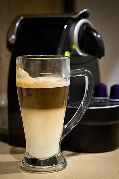 3 Arpeggio (Nespresso) capsules, with boiled skimmed milk.