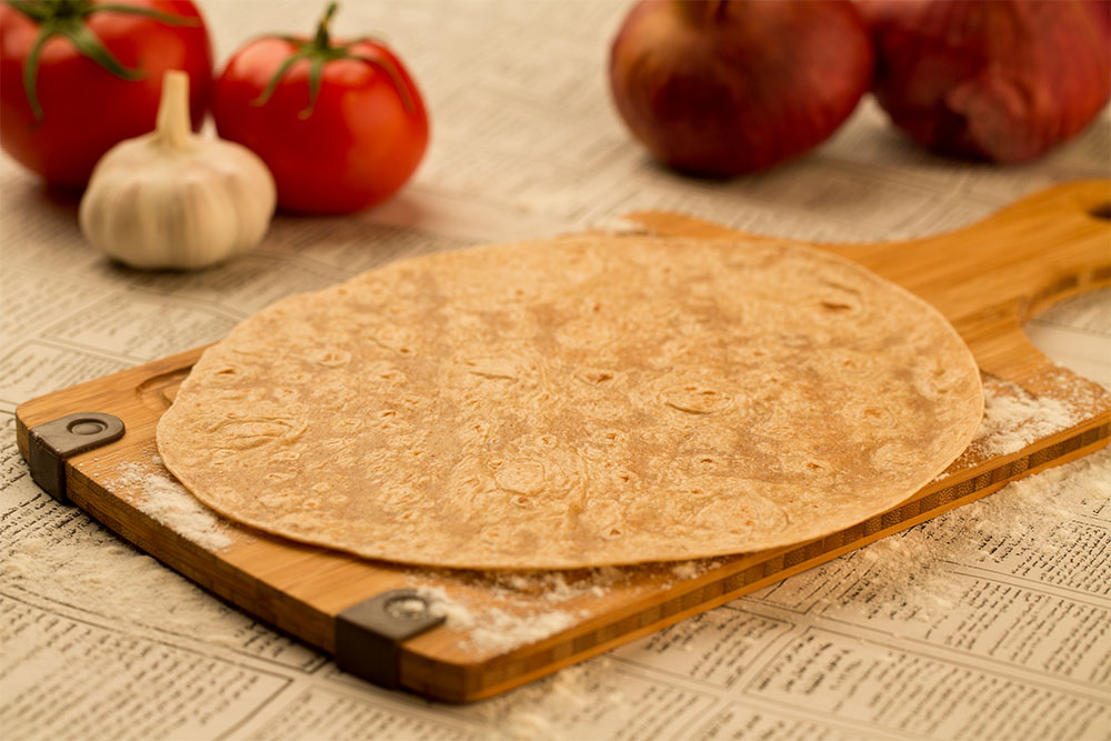 1. Ready made, off the shelf, tortilla bread