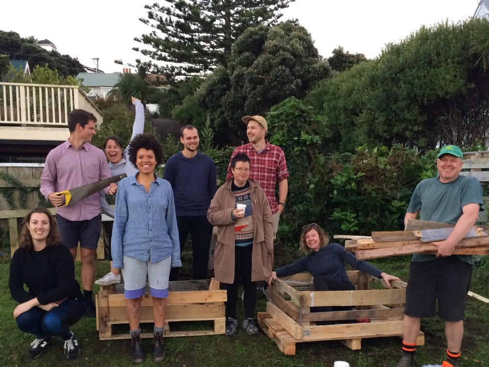 The community garden crew on planter day (August 2017)