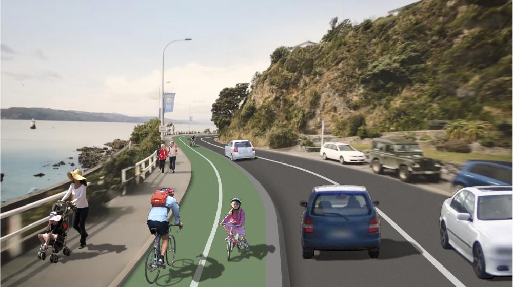 The proposed layout of the road, footpath and cycleway on Evans Bay Parade.  Credit: WCC website