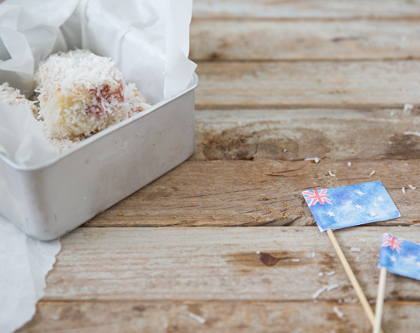 White Chocolate Lamingtons and Printable Flags for Australia Day | Erika Rax