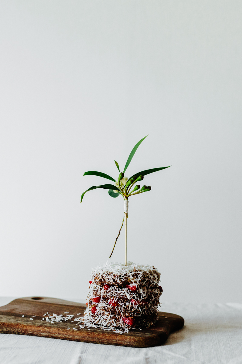 Lamington Mini Cake + Gum Leaf Cake Toppers | Erika Rax