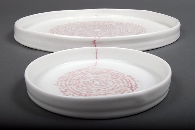 Louise Boscacci, 'Lutreolus two (Book of Rose Gums)', 2012. Engraved porcelain. 37 x 3 cm, 18 x 2.5 cm.