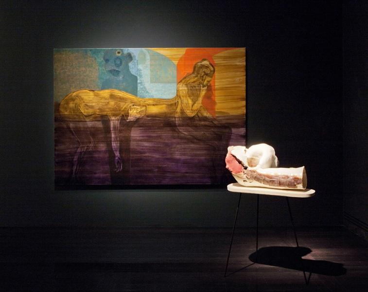 Michelle Ussher,Amaurots Mirror, 2012, oil on linen, porcelain, felt, steel. Adelaide Biennial 2012, Adelaide, Australia