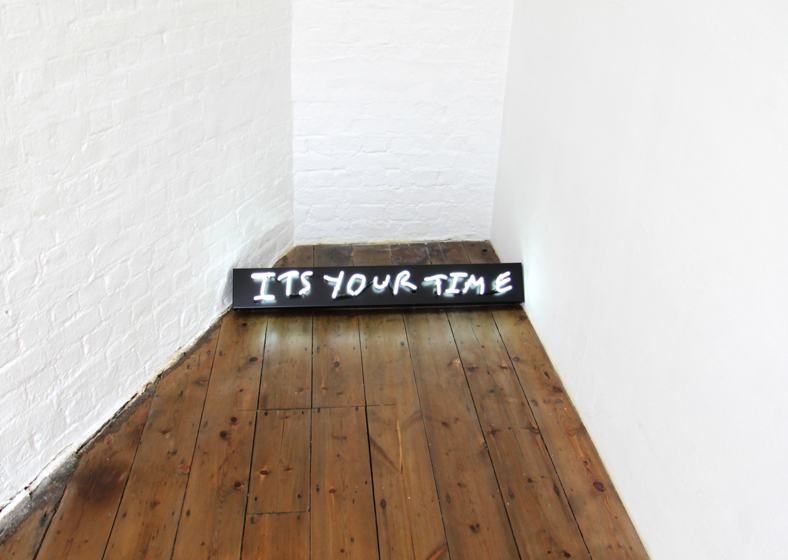 TomPolo, ITSYOURTIME, 2011.  Fluorescent neon sign, Private Collection, London