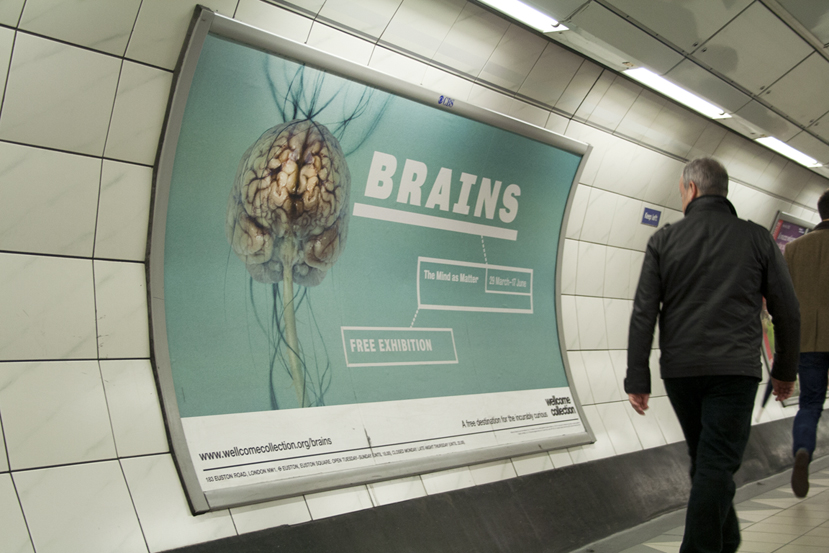 Helen Pynor, Headache, featured on London underground billboards for Brains: The Mind as Matter exhibition at the Wellcome Collection, 2012.