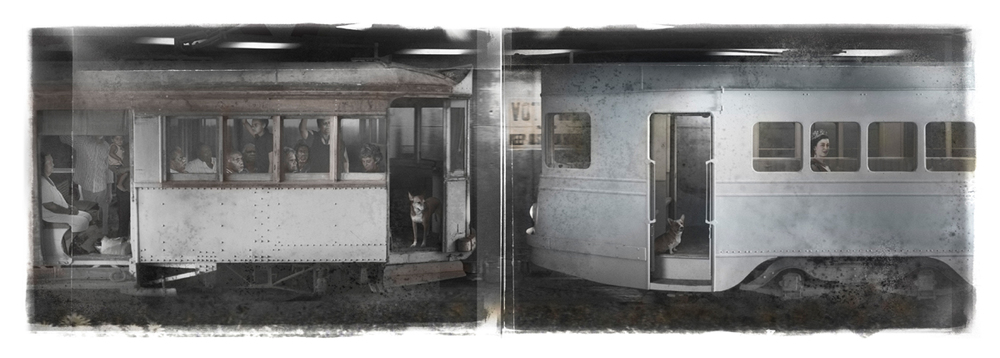 Michael Cook ,  Segregation - The Tram , 2012, Inkjet print. 50 x 125 cm.  Image courtesy of October Gallery. Photography the Artist.  All copyright is the artist's.