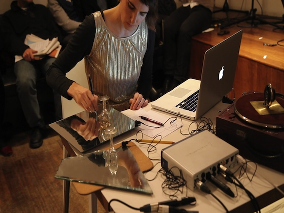 Tamara Friebel writing the sound in 40,000 years of modern art: A re-enactment', video still, Institute of Contemporary Art London, 2012