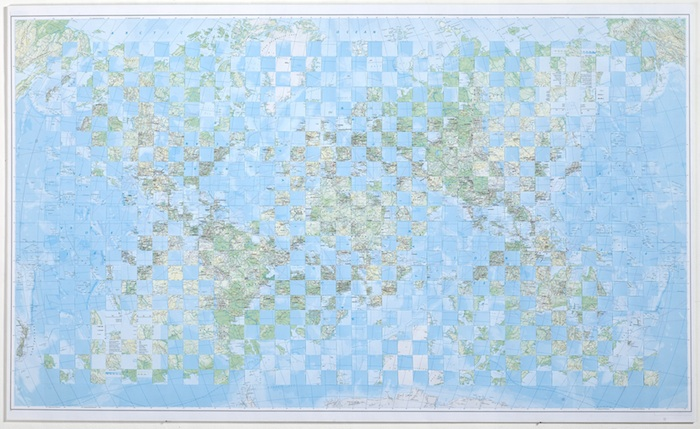 Hossein Valamanesh,  Where do I come from?, 2012.   Ed. 1/3. Maps on cotton fabric.  82 x 130 cm. © Image courtesy of Rose Issa Projects.