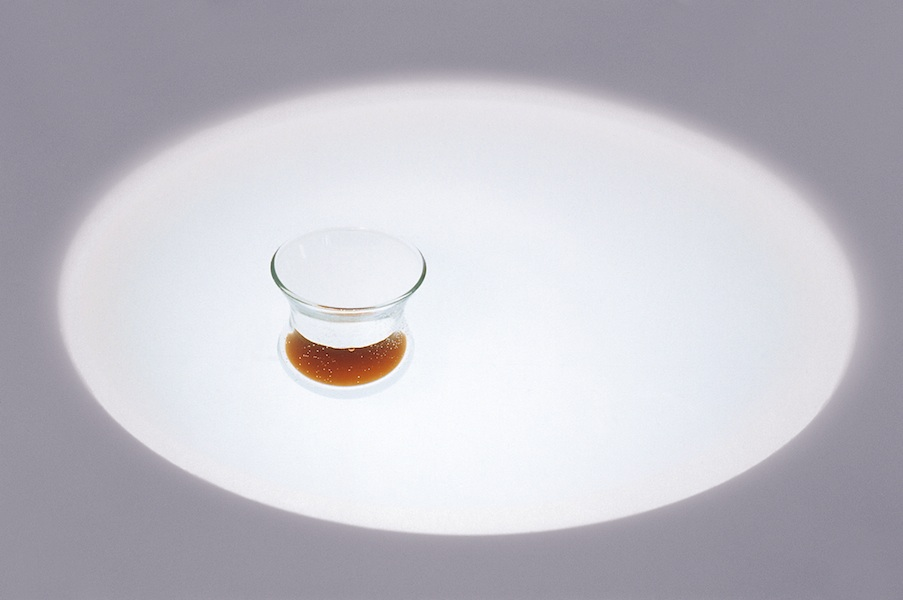Hossein Valamanesh,  Chai, as close as I can get,  1998.   AP, MDF, flourescent light, perspex, water, glass, tea, 83 x 39 x 39.5 cm.  ©