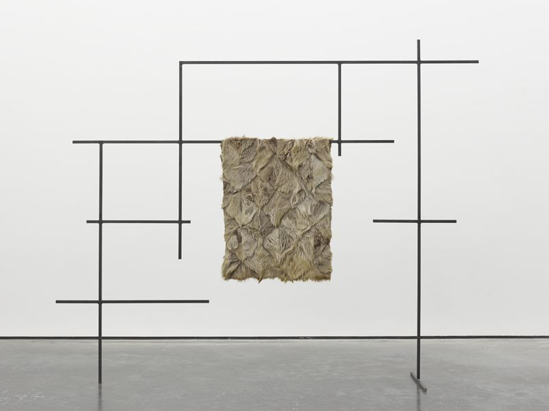 Caitlin  Yardley,  Peripheral Orbit (b),  2012.  Steel and goat skin.  75 3/16 x 96 1/16 x 17 11/16 in. (191 x 244 x 45 cm)  ©  Caitlin  Yardley.  Photo: Ben Westoby.  Courtesy White Cube