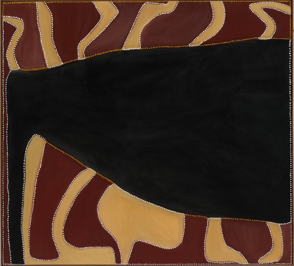 Rover Thomas, Cyclone Tracy, 1991.  Natural earth pigments and binder on canvas.  168 x 180 cm.  National Gallery of Australia, Canberra, purchased 1991. © the artist's estate courtesy Warmun Art Centre   Exhibition organised by the Royal Academy of Arts, London in partnership with the National Gallery of Australia