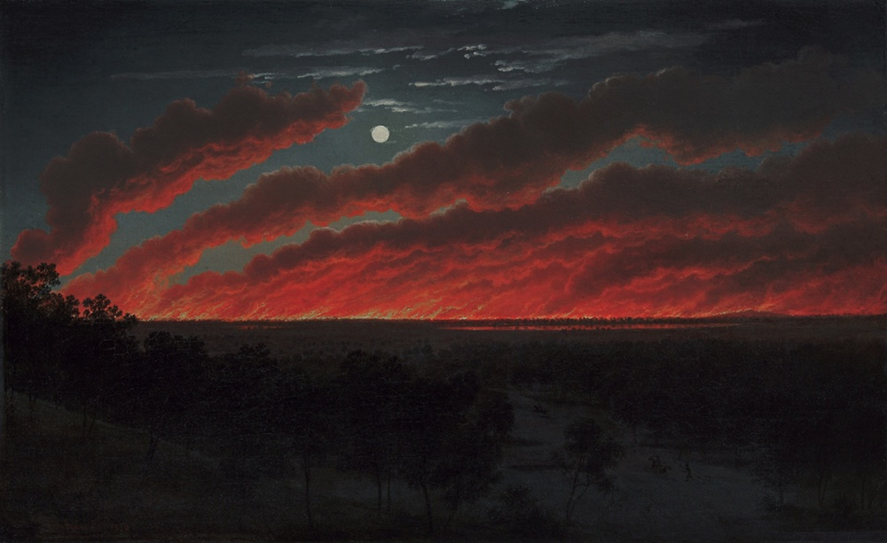 Eugene von Guérard, Bush Fire, 1859.  Oil on canvas.  34.8 x 56.3 cm.  Art Gallery of Ballarat. Gift of Lady Currie in memory of her husband, the late Sir Alan Currie, 1948. Exhibition organised by the Royal Academy of Arts, London in partnership with the National Gallery of Australia
