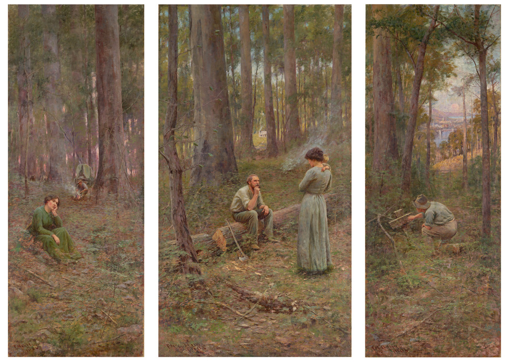 Frederick McCubbin, The Pioneer, 1904, Oil on canvas.  225 x 295.7 cm.National Gallery of Victoria, Melbourne. Exhibition organised by the Royal Academy of Arts, London in partnership with the National Gallery of Australia
