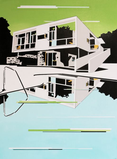 Paul Davies,  Displaced house , 2013, acrylic on linen 122 x 91cm