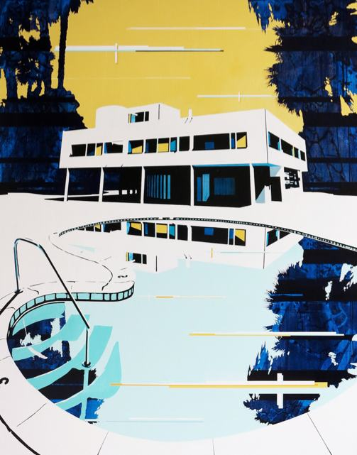 Paul Davies, Palms Home Pool, 2013, acrylic on linen 153 x 122cm.