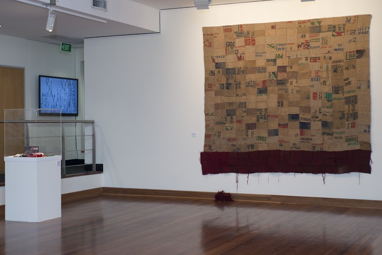 Meredith Brice, 2014-15,  The Broken Years,  Hessian, cotton thread, textile dye, 260 x 296 cm