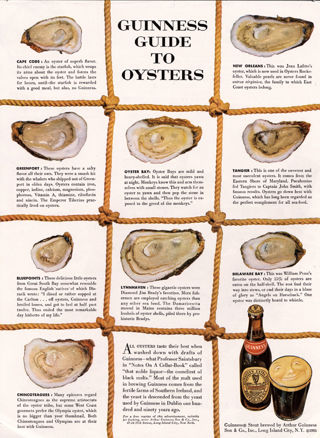 "David Ogilvy's ad for Guinness. Look at all the ""content."""