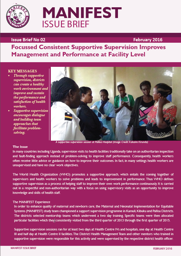MANIFEST Issue Brief 2: Focussed Consistent Supportive