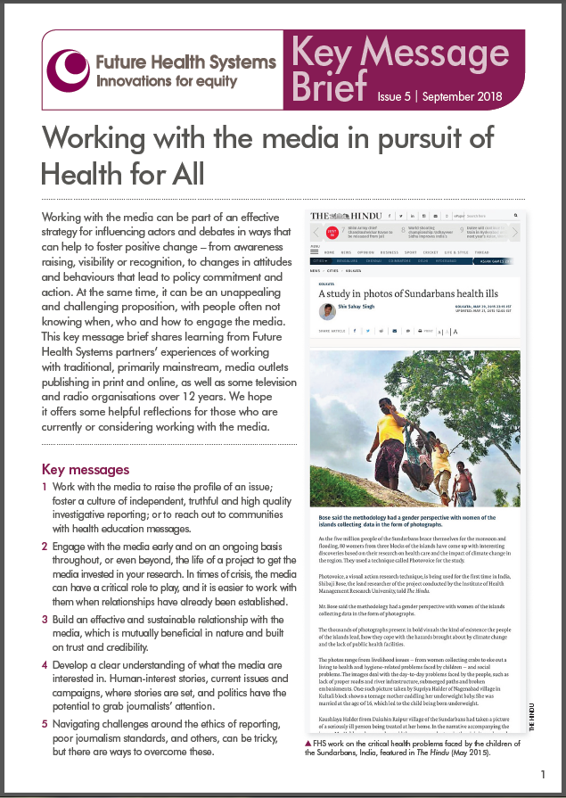 Fhs Key Message Brief 5 Working With The Media In Pursuit Of Health