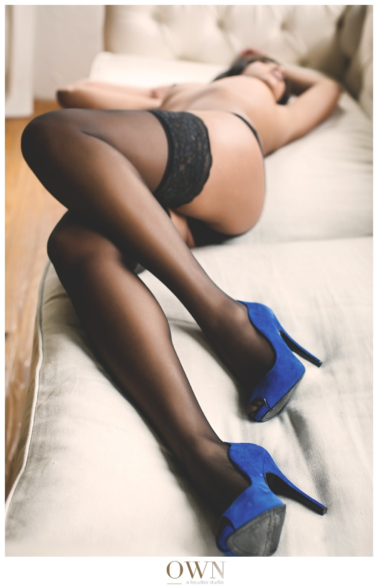 black boudoir atlanta anniversary present blue shoes thigh highs