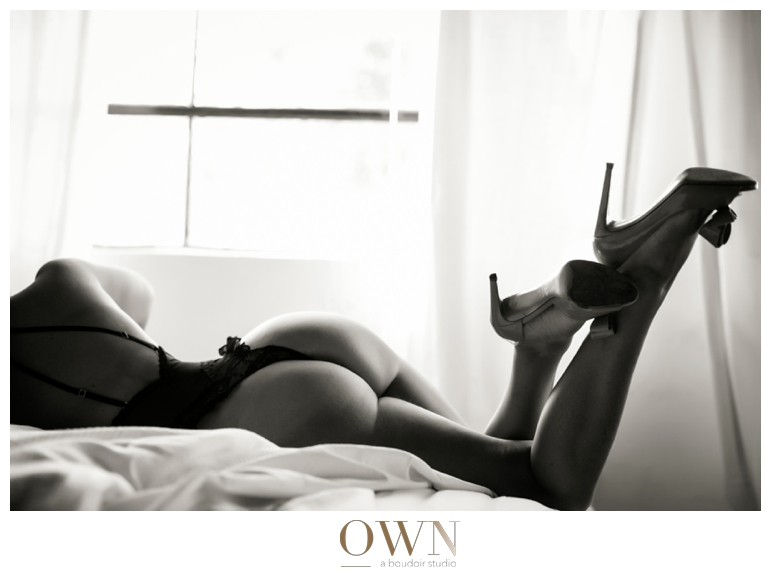 black and white backside legs and high heels atlanta boudoir own boudoir