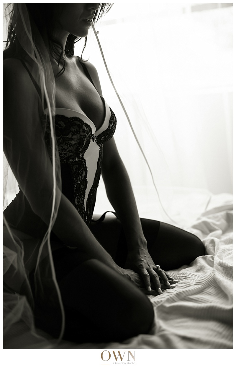 black and white dramatic portrait bridal boudoir atlanta ownboudor