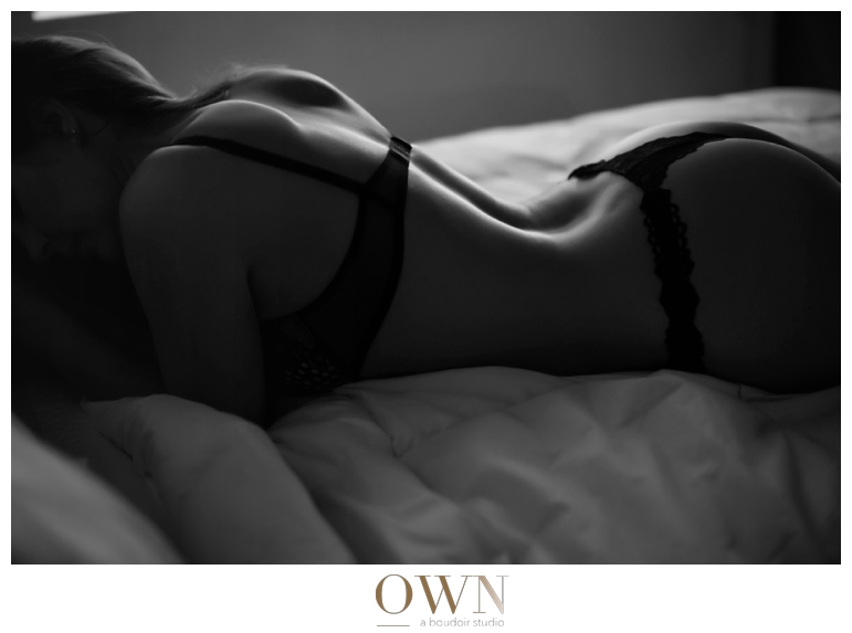 own boudoir atlanta black and white photography