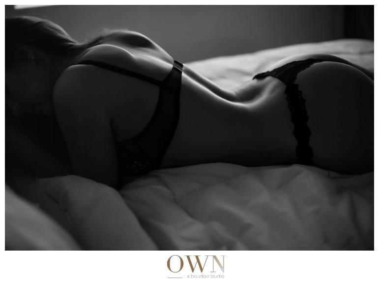 own boudoir atlanta black and white photography