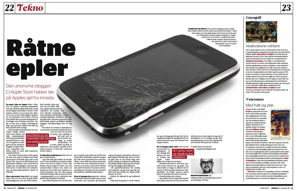 """Råtne epler"" Et halvt år senere kjøpte jeg iPhone. (Dagbladet FREDAG)"