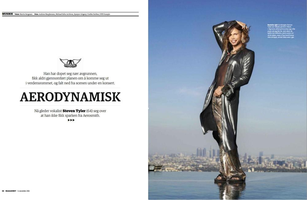 Aerodynamisk (2012) - Intervju for Dagbladet Magasinet. Når man spør Aerosmith-frontmann Steven Tyler om han planlegger å dra ut i verdensrommet, lyser han opp som et juletre.