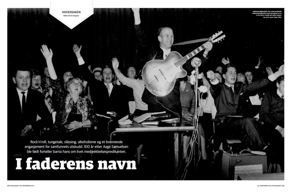 """""""I faderens navn"""" Vekkelsespredikanten som varNorgeskanskje første rocker. Åmøte dem som vokste opp med ham som far, med alt det medførte av både glade og tunge stunder, gjorde veldig inntrykk. Bak betalingsvegg.(Dagbladet Magasinet)"""