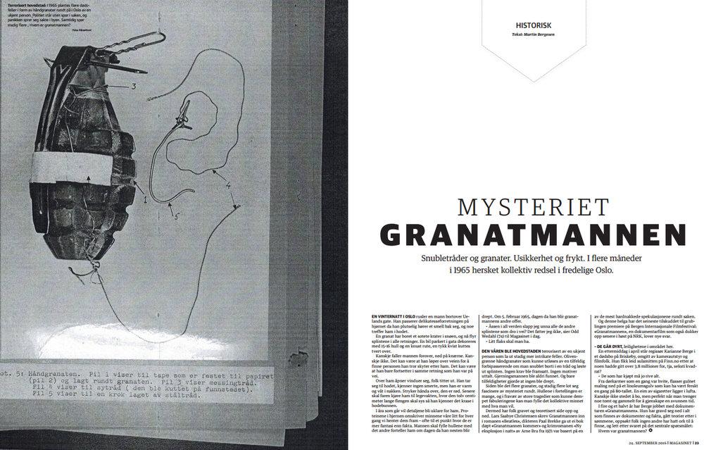Mysteriet granatmannen (2016) - Dagbladet Magasinet-reportasje om mannen som terroriserte Oslo på 60-tallet med hjemmelagde granatfeller –og hans ukjente offer.