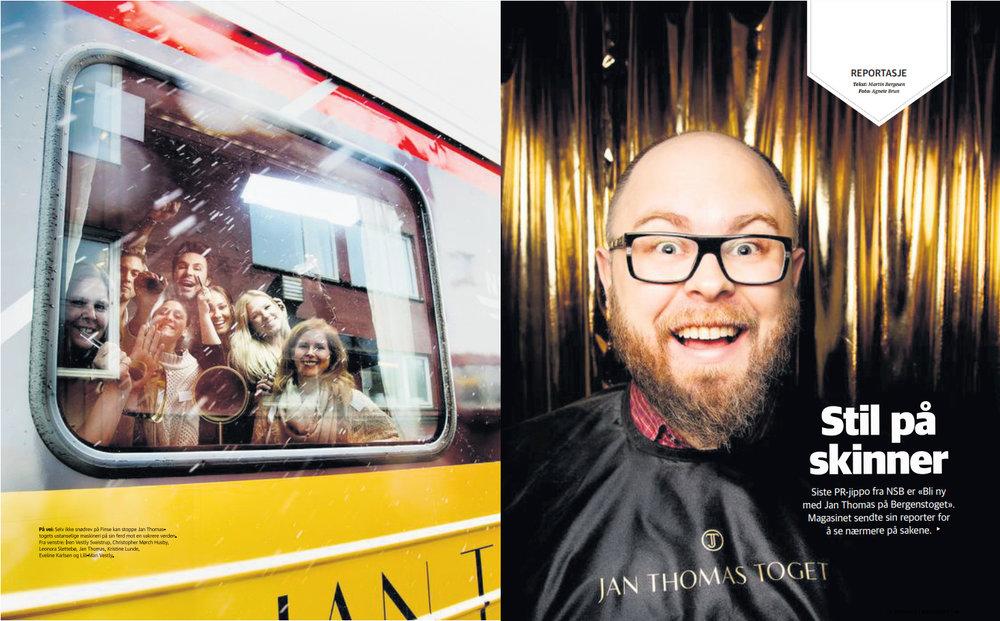 Stil på skinner (2015) - Magasinet-reportasje. Jan Thomas-toget er akkurat som du tror: Bli ditt beste selv med mesterstylisten himself i løpet av en åttetimers togtur fra Oslo til Bergen.
