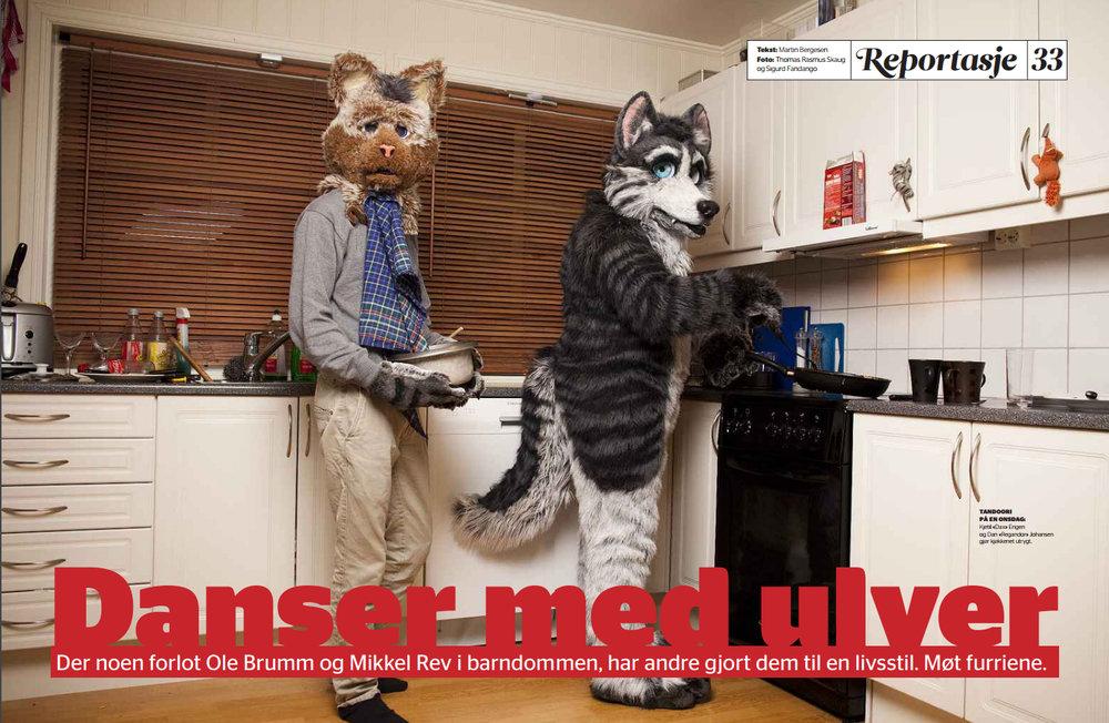Danser med ulver (2010) - Hovedsak i Dagbladet Fredag. Dette var første gang noen fikk ta en titt på innsiden av den norske furry-kulturen.