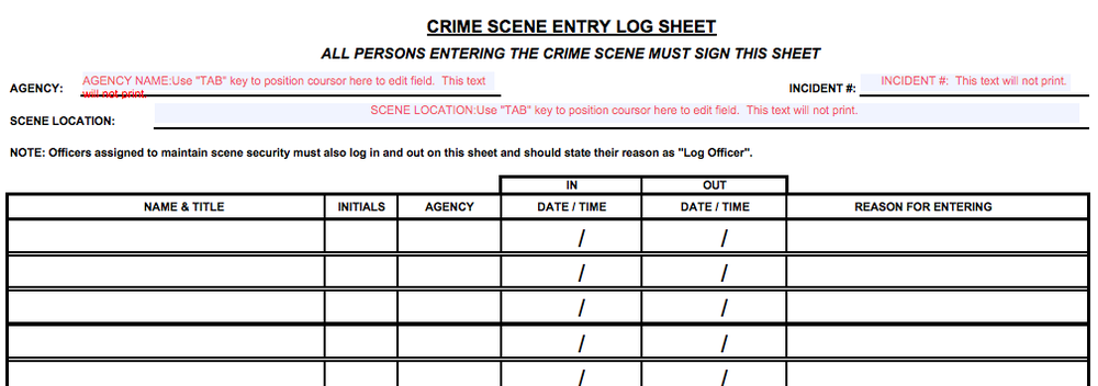 Crime Scene Investigations Diagrams and Articles for Writers and