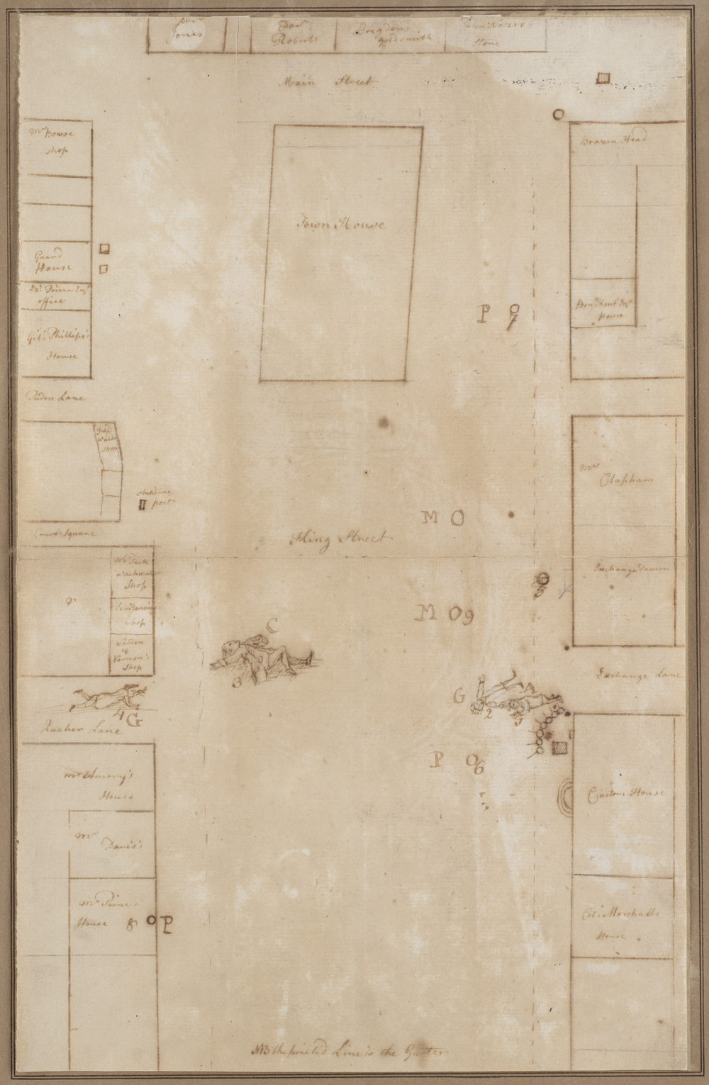 Planned Boston massacre, 1770 (diagram by Paul Revere) -  Map reproduction courtesy of the  Norman B. Leventhal Map Center at the Boston Public Library