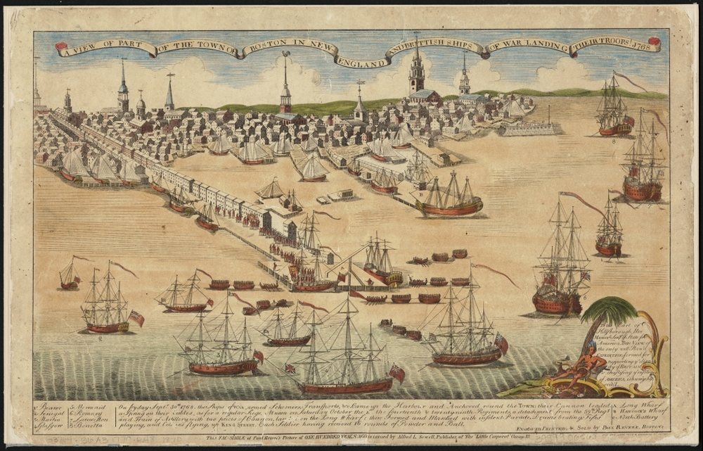 Ships of war, Boston 1768 (drawing by Paul Revere) -   Map reproduction courtesy of the  Norman B. Leventhal Map Center at the Boston Public Library