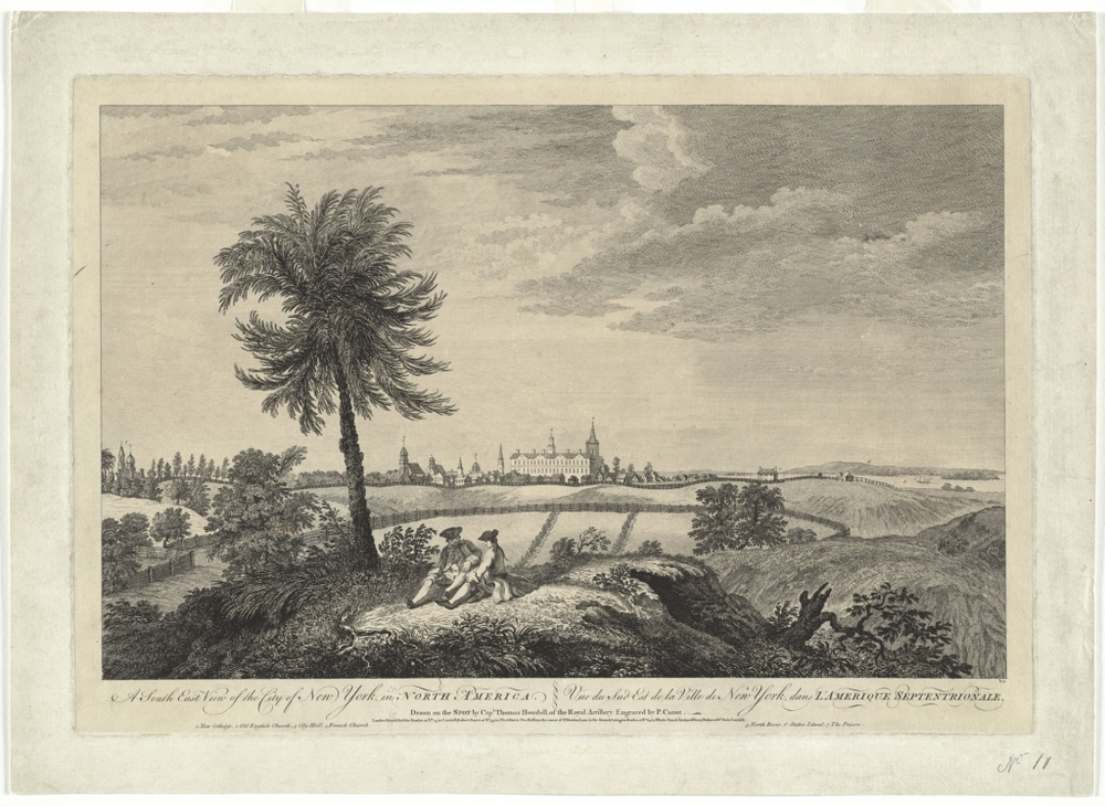 SW view of New York city, 1763 -  Map reproduction courtesy of the  Norman B. Leventhal Map Center at the Boston Public Library