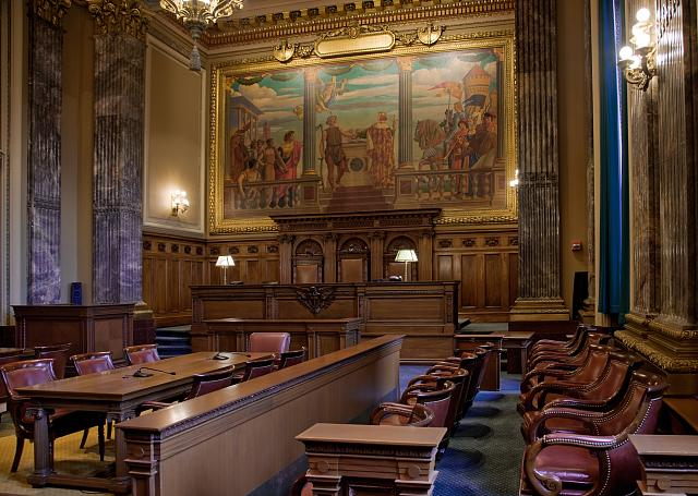 Jury box, Howard M. Metzenbaum U.S. Courthouse, Cleveland, Ohio by Carol Highsmith (image is in the public domain)