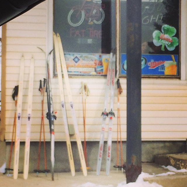 The ski home should be fun. #ski-to-a-bar #ski #iowacity