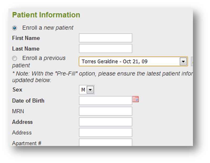 Online Enrolments Physicians, staff and technicians can enroll patients with auto-fill features for quick and easy entry. Be notified instantly of new enrollments and discontinuances.