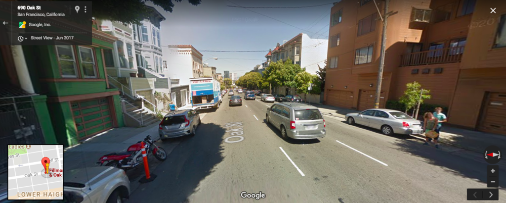 This is a Google street view image of the block where the collision occurred. (No, I did not park that rare Honda Hawk GT in the frame just to make motorcyclists drool.)