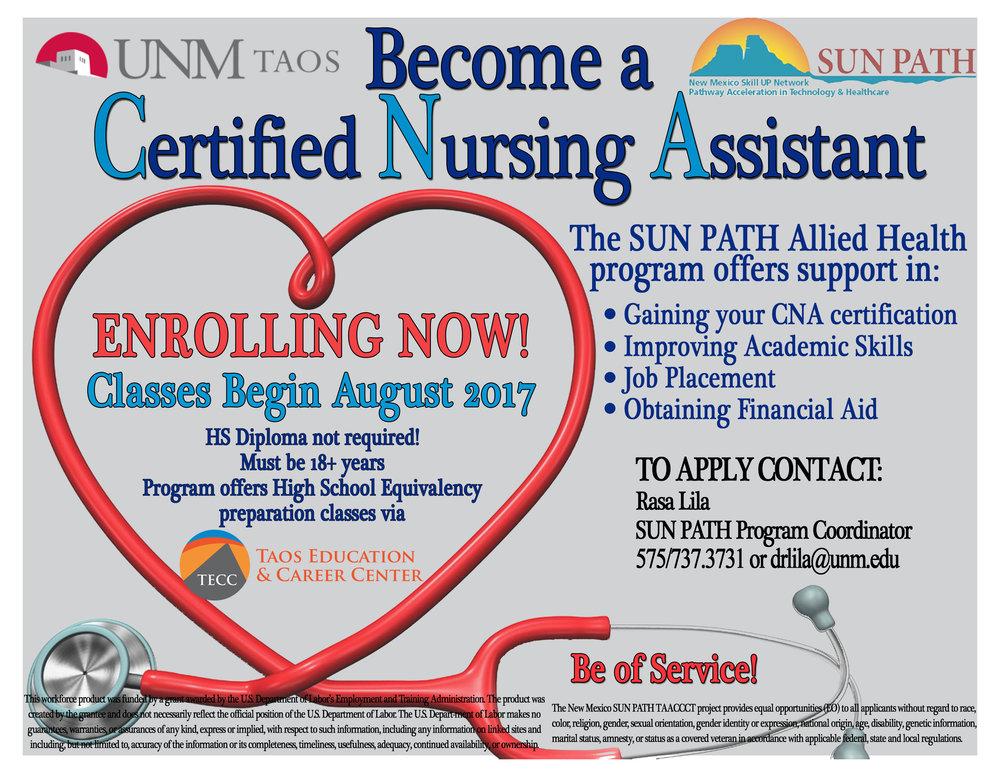 Sun Path Program Prepare For A Career In Healthcare Taos Alive