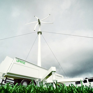 Uprise Energy Portable Power Center, a 50 kW mobile wind turbine that can produce off-grid power for as low as 3 cents per kilowatt hour and is likely to average 12 cents per kWhr