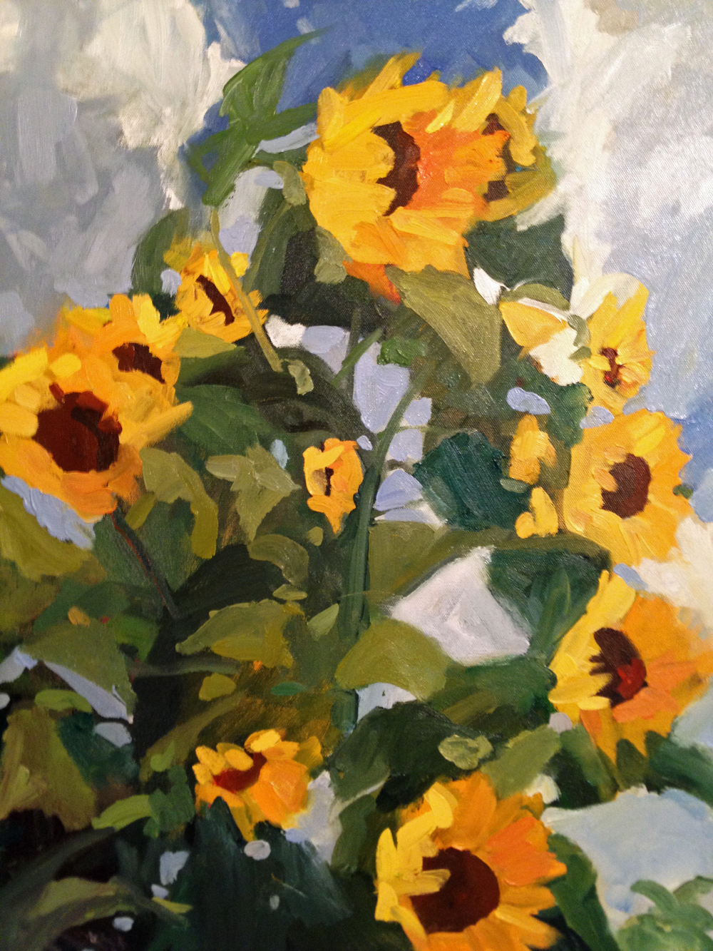 "SUNFLOWERS AND SKY, original oil, 20x24"" Gallery9 October show"