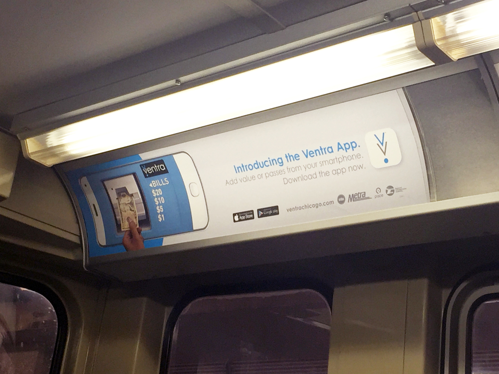 "Spotted!! Our ""Adding Value"" Ventra car card on the blue line."