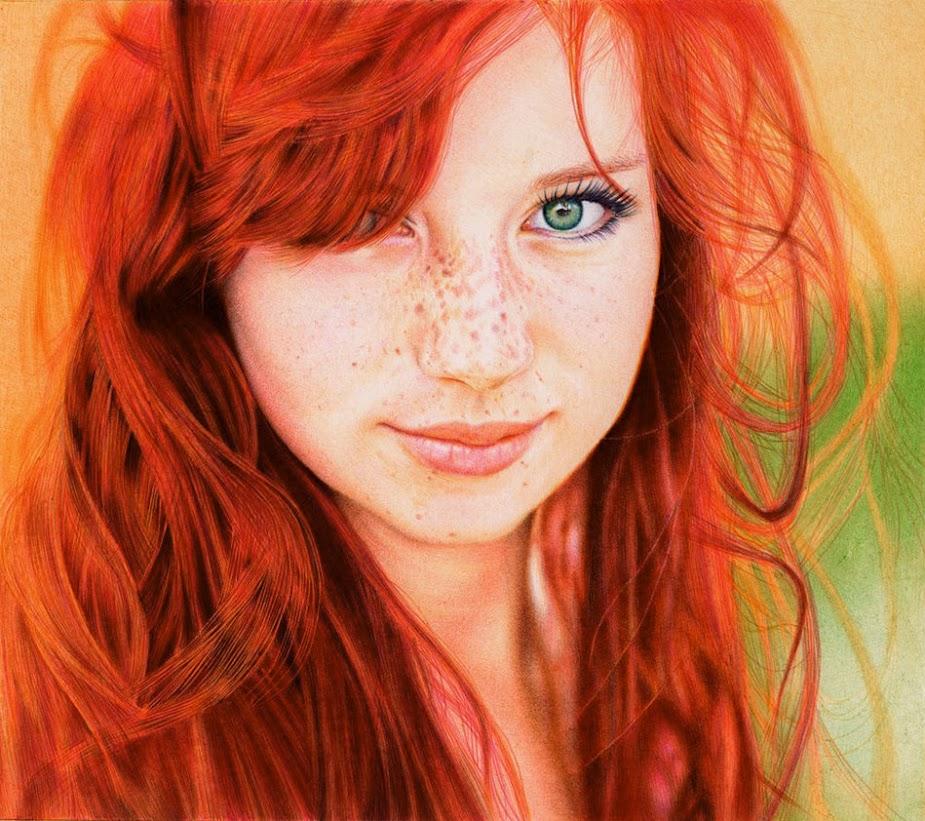 """Redhead Girl - Ballpoint Pen"" by Samuel Silva"